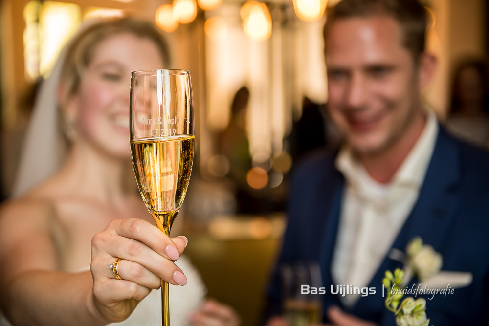speciaal champagneglas Trouwen Hotel Arena in Amsterdam